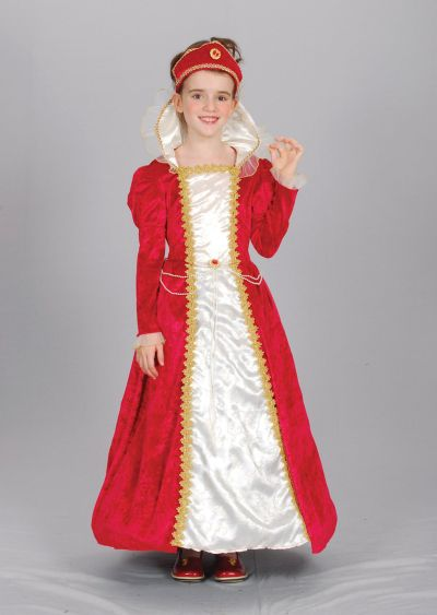 Kids Medieval Royal Red Queen Girls Book Week Fancy Dress Childs Costume Outfit