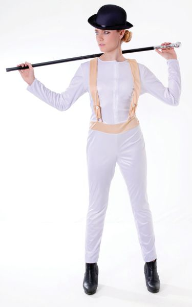 SALE! Adult Clockwork Orange Ladies Halloween Fancy Dress Costume Party Outfit
