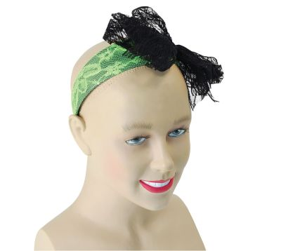 80s Neon Lace Headband. Green