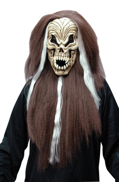 Skull Mask with Brown and White Hair