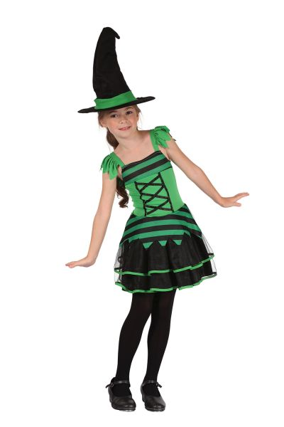Child Cute Black & Green Witch Girls Halloween Party Fancy Dress Kids Costume