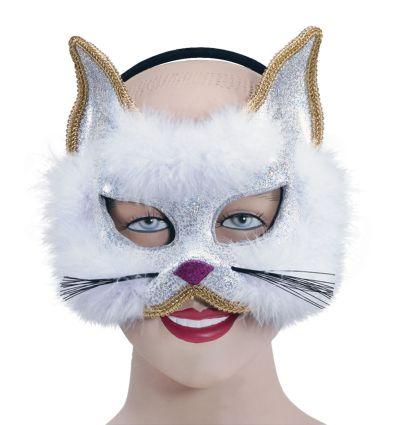 Glitter Cat Mask White on Hband