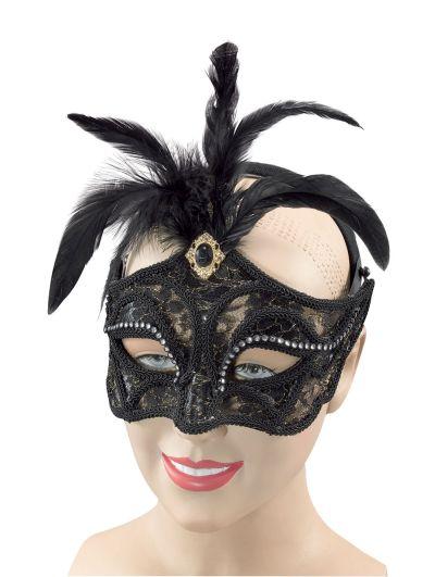 Black Mask + Tall Feathers On Headband