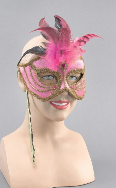 Mask On Stick. Pink/Tall Feathers