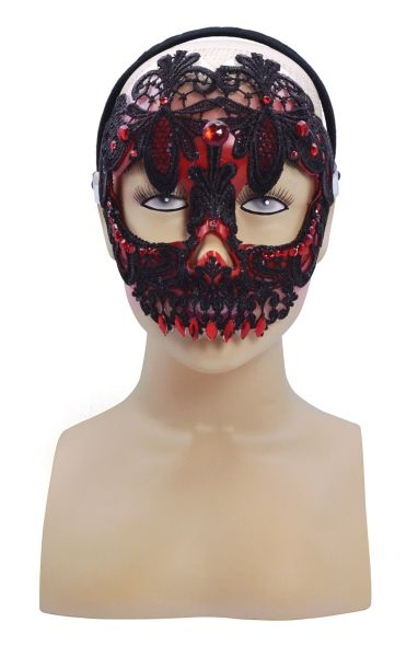Red And Black Lace Sugar Skull Mask