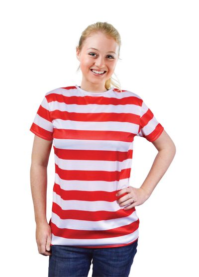 Ladies Red and White Striped Shirt Thumbnail 1