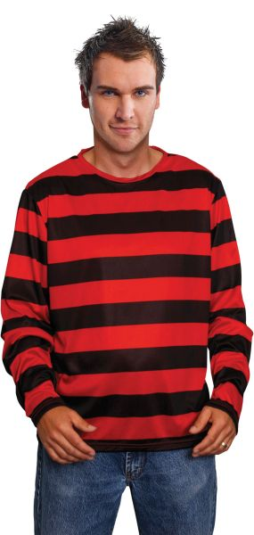 Adult Red And Black Striped Shirt Thumbnail 1