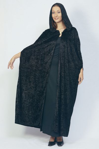 Adult Gothic Hooded Cloak Black Thumbnail 1