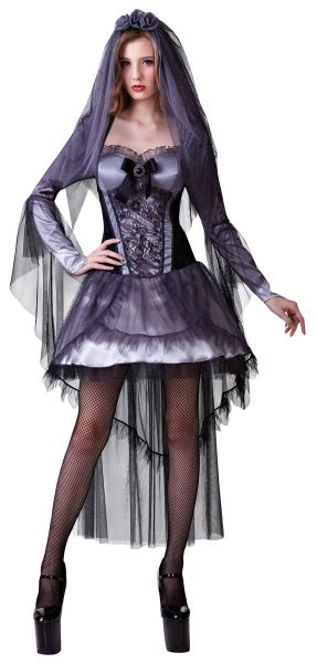 Adult Sexy Zombie Dark Vampire Bride Ladies Halloween Fancy Dress Costume Outfit Thumbnail 1