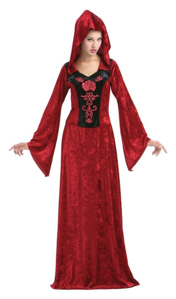 Adult Sexy Red Gothic Maiden Ladies Halloween Party Fancy Dress Costume Outfit  Thumbnail 1