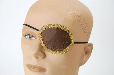Pirate Brown Eye Patch + Gold Trim Thumbnail 1