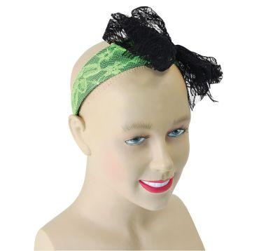 80s Neon Lace Headband. Green Thumbnail 1