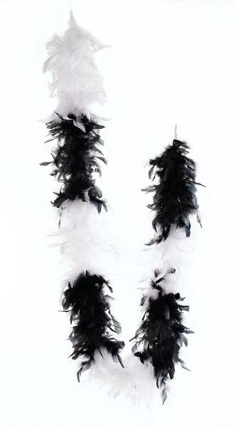 Feather Boa. Black/White Thumbnail 1
