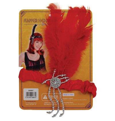 Flapper Headband & Red Feathers Thumbnail 1