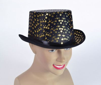 Top Hat. Black/Gold Pattern Thumbnail 1