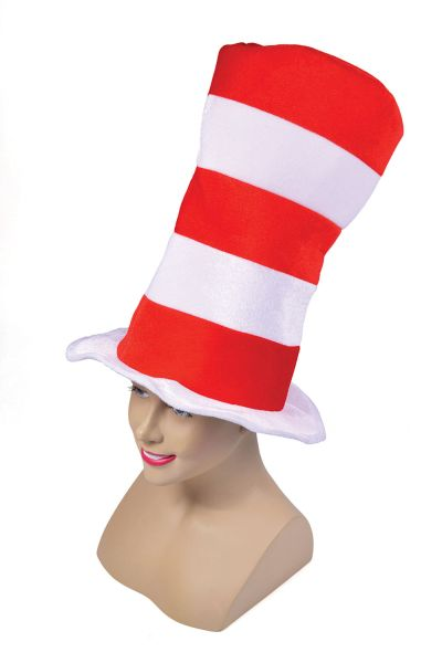 Red/White Striped Top Hat. Adult Thumbnail 1