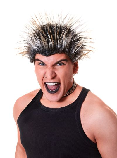 Spiked Wig. Blonde/Black Thumbnail 1