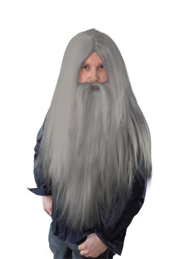 Grey Wizard Wig and Long Beard Thumbnail 1