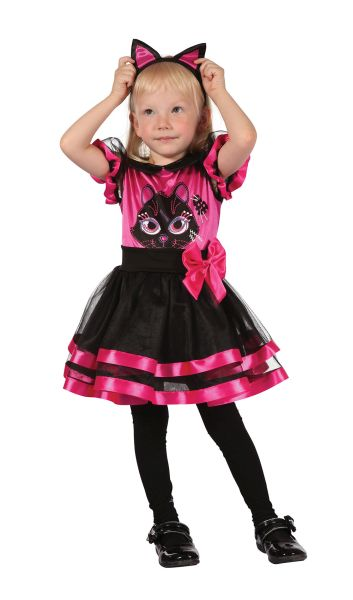 SALE Kids Cute Pink Kitty Cat Girls Halloween Fancy Dress Toddler Costume Outfit Thumbnail 1