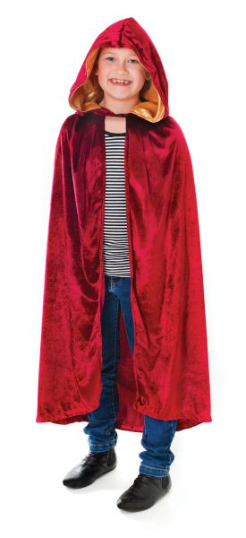 Childs Velvet Burgundy Hooded Cloak Thumbnail 1