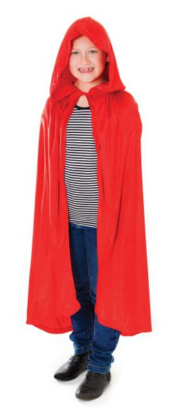Childs Velvet Red Hooded Cloak Thumbnail 1