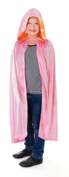 Childs Pink Velvet Hooded Cape Thumbnail 1
