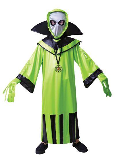 Child Funny Little Green Man Alien Boys Halloween Party Fancy Dress Kids Costume Thumbnail 1