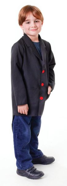 Child Circus Top Master Black Tailcoat Boys Fancy Dress Kids Costume Accessory Thumbnail 1