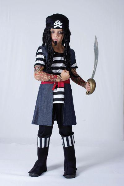 Childs Tattoo Pirate Boy Costume Thumbnail 1