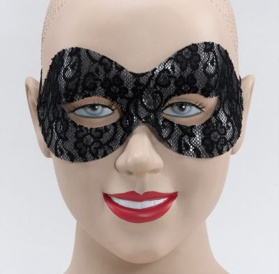 Black Lace Domino Eye Mask Thumbnail 1