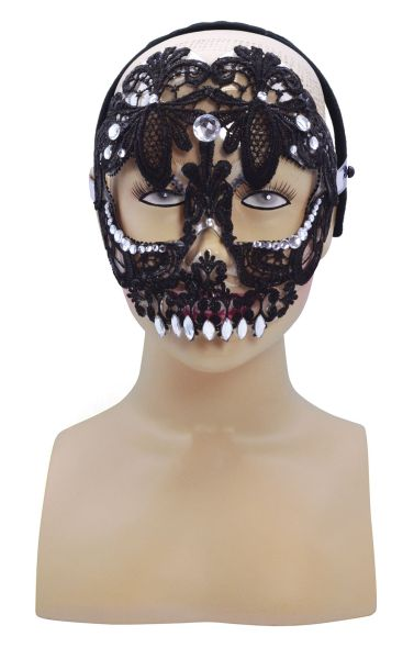 Black Lace Sugar skull Mask  Thumbnail 1