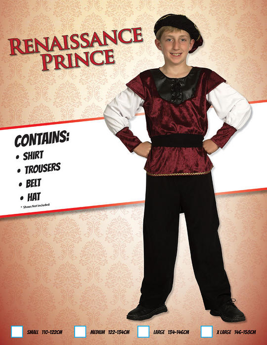 Childs Renaissance Prince Costume Thumbnail 1