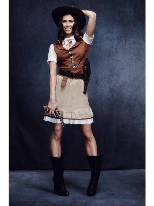 Sexy Fever Sheriff Ladies Wild West Fancy Dress Costume Hen Party Outfit Thumbnail 2