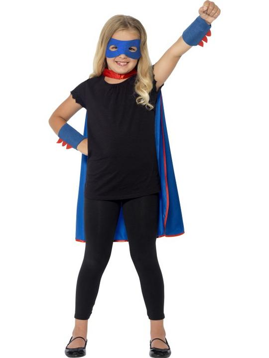 SALE! Childrens Superhero Fancy Dress Kit Blue Cape & Blue Mask Childs Cloak Thumbnail 2