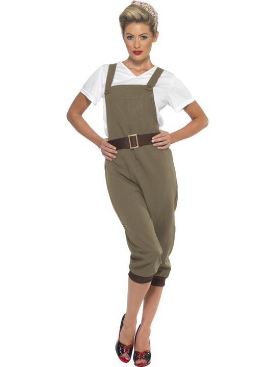 Adult 1940s WW2 Wartime Army 40s Land Girl Ladies Fancy Dress Costume Outfit Thumbnail 1
