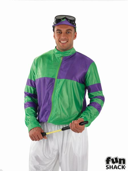 Green and Purple Jockey Fancy Dress Costume