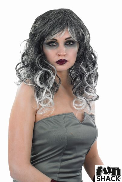 Sexy Grey Temptress Witch Wig Ladies Halloween Fancy Dress Costume Accessory