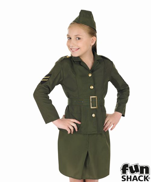 WW2 Army Girl Fancy Dress Costume
