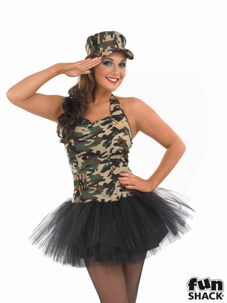 Commando Tutu Girl Fancy Dress Costume