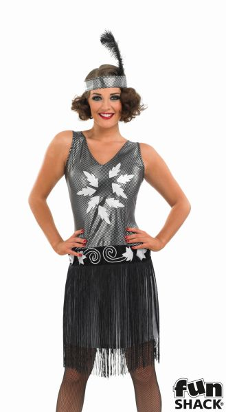20's Flapper Costume Ladies 1920's Charleston Fancy Dress Hen Night Party Outfit