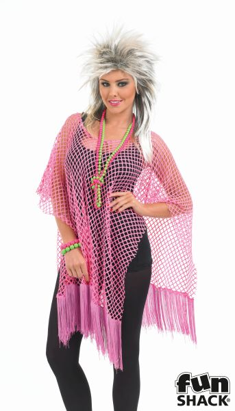 Womens Neon Pink Long Net Top