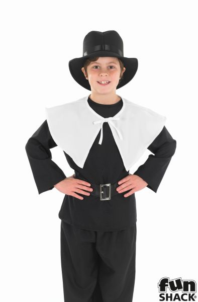 Kids Pilgrim Puritan Amish Boys Book Week Fancy Dress Childs Costume Outfit