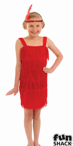 Red Flapper Fancy Dress Costume