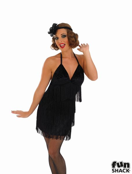 Sexy Black Flapper Fancy Dress Costume