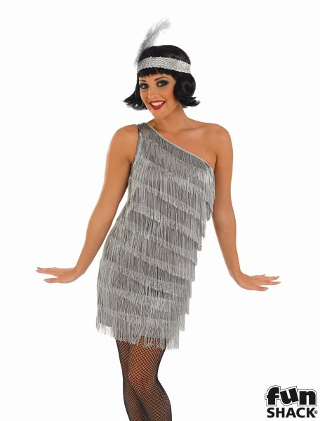 1920's Flapper Costume Ladies 20's Charleston Fancy Dress Hen Night Party Outfit