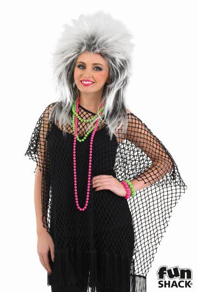 Womens 80s Black Long Net Top