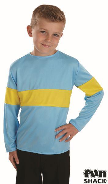 Kids Horrid Boy Blue & Yellow Top Boys Book Week Fancy Dress Childs Costume