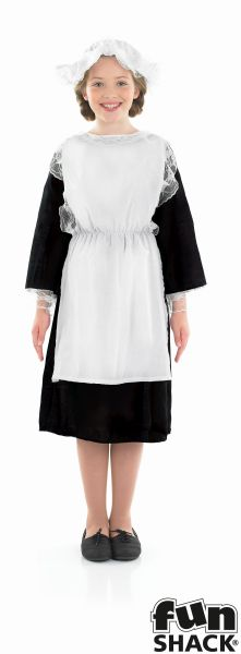Girls Book Week Victorian Maid Costume Kids Fancy Dress Outfit Thumbnail 2