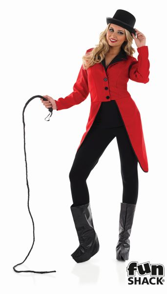 Circus Ringmaster Jacket Ladies Lion Tamer Tailcoat Fancy Dress Party Outfit Thumbnail 1