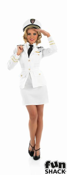 40s Lady Naval Officer Fancy Dress Costume Thumbnail 2